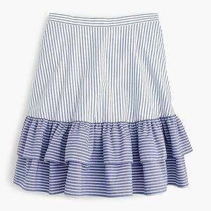 J. Crew Sz 10  Striped ruffle skirt blue white